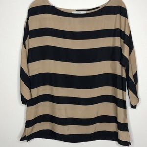 Loft Black Beige Stripe Top Sz Large